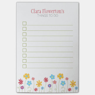 Funky Frühlings-Blumen, zum der Liste zu tun Post-it Klebezettel