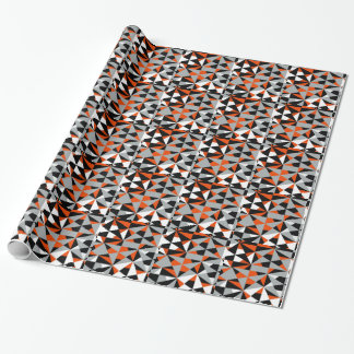 Funky geometrisches orange Schwarz-weißes graues Geschenkpapier