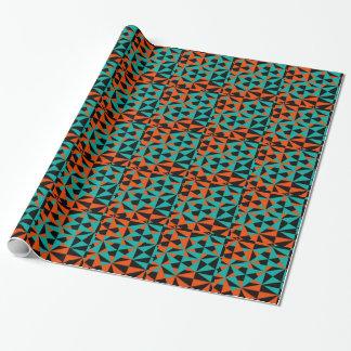 Funky geometrisches orange schwarzes aquamarines geschenkpapier
