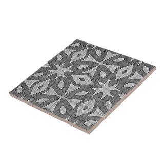 Funky graues Imitat-Batik-Leinen quadriert Muster Keramikfliese