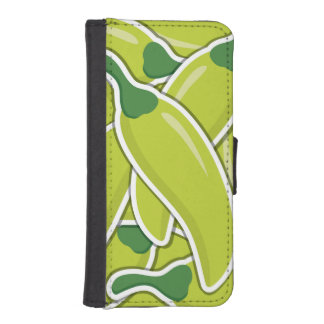 Funky grüne Paprika-Paprikaschoten iPhone 5 Portmonnaies