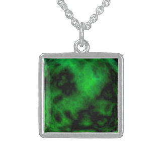 Funky grünes Smaragdneonhalloween abstrakt Sterling Silberkette