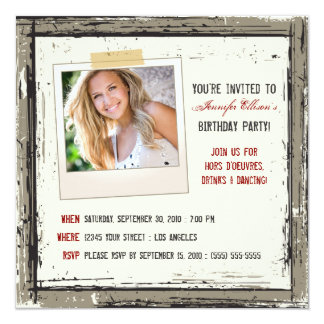 Funky Grunge-Geburtstags-Party Einladung (Taupe)
