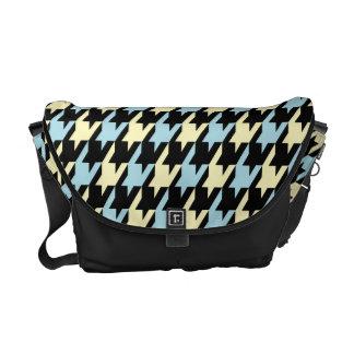 Funky Hahnentrittmuster-Muster im blauen gelben Sc Kurier Tasche