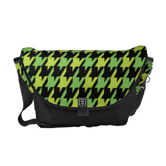 Funky Hahnentrittmuster-Muster in Tangy Limonem Kurier Taschen