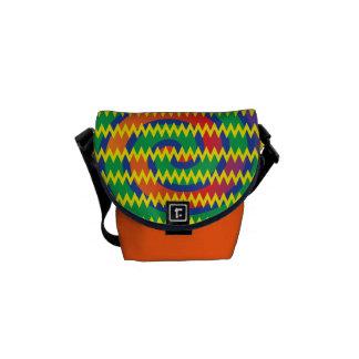 Funky PrimärfarbWirbels-Zickzack Zickzack-Entwurf Kurier Tasche
