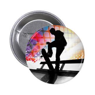 funky Regenbogen-Skater abstrakt Anstecknadel