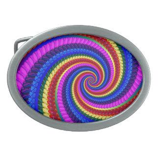 Funky Regenbogen-Strudel-Fraktal-Kunst-Muster Ovale Gürtelschnalle