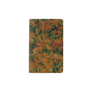 Funky Retro abstrakte Mandarine-orange Grün Moleskine Taschennotizbuch
