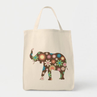 Funky retro bunte mit BlumenBlumen des Elefanten,  Tragetaschen