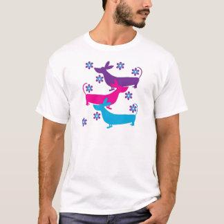 Funky retro foral DachshundjagdhundhundeT - Shirt