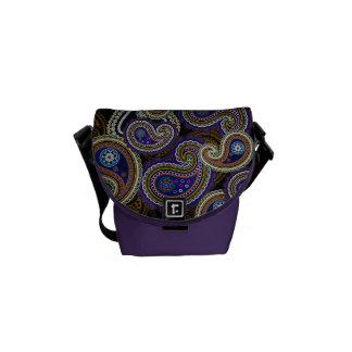 Funky Retro lila Vintage Paisley-Bote-Tasche Kuriertaschen