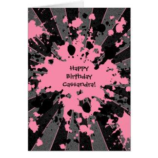 Funky rosa Farben-Spritzer Paintball alles Gute Karte