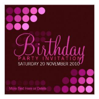 Funky rosa Party-Geburtstags-Einladung