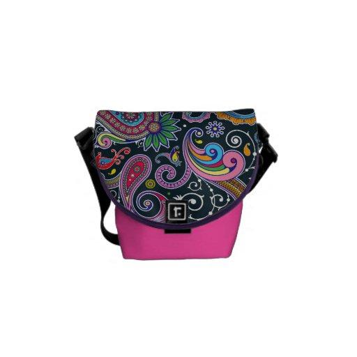 Funky rosa Vintage Retro Paisley-Bote-Tasche Kuriertaschen