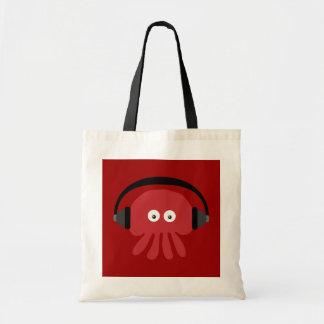Funky rote Cartoon DJ-Quallen-Tasche