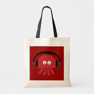 Funky rote Cartoon DJ-Quallen-Tasche Budget Stoffbeutel