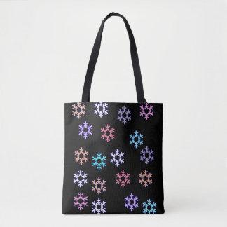 Funky Schneeflocken ganz über Druck-Taschen-Tasche Tasche