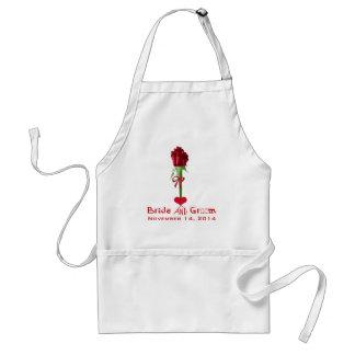 Funky Schriftart-Rote Rosen, die Schürze Wedding