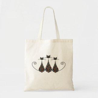 Funky schwarze Katzen-Taschen-Tasche Budget Stoffbeutel