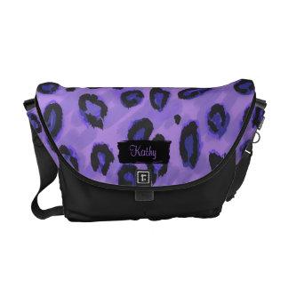 Funky schwarzer und lila Leopard-Bote-Geldbeutel Kurier Tasche