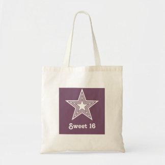Funky Stern-Bonbon16 Swag-Tasche, lila Budget Stoffbeutel