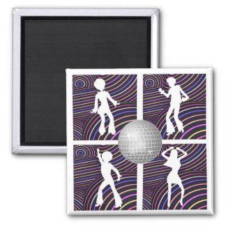 Funky Wirbels-Disco-Themasiebziger jahre Quadratischer Magnet