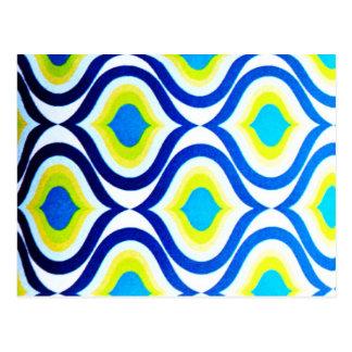 funkylicious gelber blauer weißer retro Hipster Postkarten