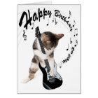 Funny birthday card cat with guitar karte