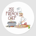 Funny French Chef Gifts Round Sticker