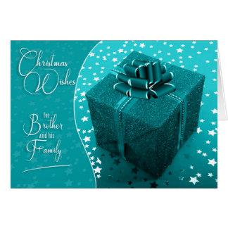 für Bruder-und Familien-Türkis-Blau-Weihnachten Karte