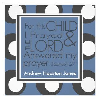 Für dieses Kind betete ich Geburts-Mitteilung Personalisierte Einladungskarte