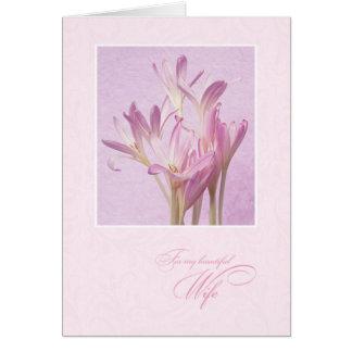 Für Ehefrau auf Blumen der Mutter Tages Karte