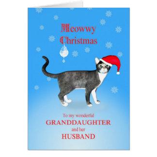 Für ein Enkelin und Ehemann Meowwy Weihnachten Karte