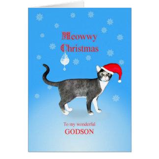 Für einen Patensohn Meowwy Weihnachtskatze Karte