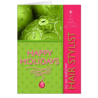 für Haar-Stylist-Weihnachtsheißes Rosa-Limones Karte