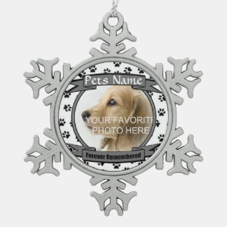 Für immer erinnertes Hunde-oder Katzen-Denkmal Schneeflocken Zinn-Ornament