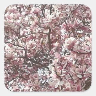 Für immer Frühlings-Magnolien-Aufkleber Quadratischer Aufkleber