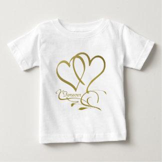 Für immer Herz-Goldeditable Hintergrundfarben Baby T-shirt
