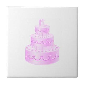 Für immer Liebe-rosa Hochzeits-Kuchen Keramikfliese