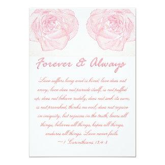 Für immer u. immer Rosescripture-Hochzeit 12,7 X 17,8 Cm Einladungskarte