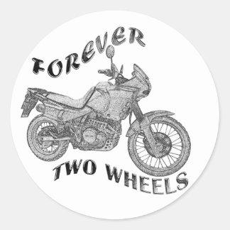 Für immer zwei Räder - Radfahrer Runder Aufkleber