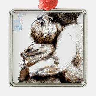 Für, was Liebe tut, fragen Sie Quadratisches Silberfarbenes Ornament