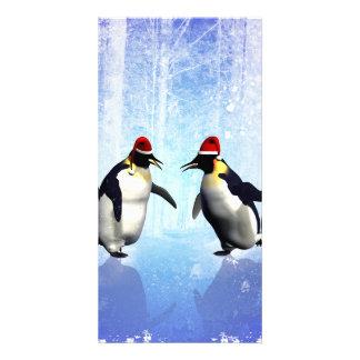 Für Weihnachten tanzen, lustiges penguine Foto Grußkarte