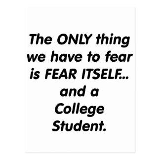 Furcht-Unistudent Postkarte