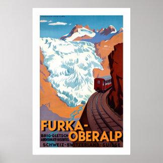 Furka Oberalp Schweizer Vintages Bahnplakat Poster