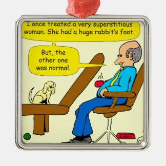 Fuß-Psychologie-Cartoon mit 914 Kaninchen Silbernes Ornament