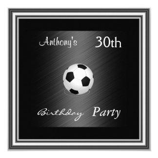 Fußball-30. Geburtstags-Partysilber Quadratische 13,3 Cm Einladungskarte