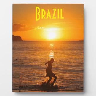 Fußball am Sonnenuntergang Fotoplatte