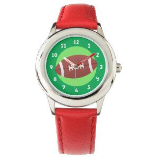 Fußball auf grünen Hintergrundkindern Armbanduhr